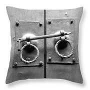 Chinese Door And Lock - Black And White Throw Pillow