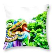 Chinese Dragon Ride Throw Pillow