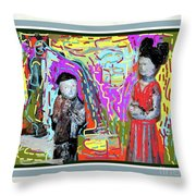 Chinese Figures Throw Pillow