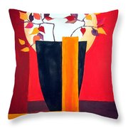 Chinese Flower On Vase Throw Pillow