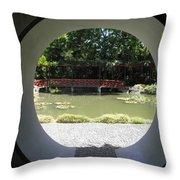 Chinese Garden View Throw Pillow