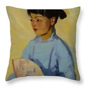 Chinese Girl With Fan 1914  Throw Pillow