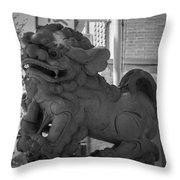 Chinese Guardian Female Lion B W Throw Pillow