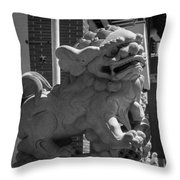 Chinese Guardian Male Lion B W Throw Pillow