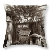 Chinese Man Looking At Joss House, Temple Altar At Chinese Villa Throw Pillow by California Views Archives Mr Pat Hathaway Archives