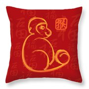 Chinese New Year Of The Monkey Gold Brush On Red Illustration Throw Pillow