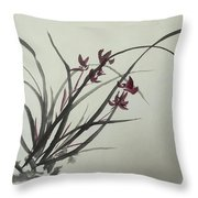 Chinese Orchid Throw Pillow