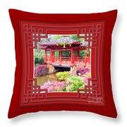 Chinese Pavilion Rhododendron Gardens Burnie Tasmania Throw Pillow