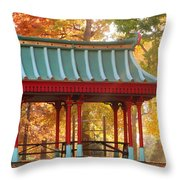 Chinese Pavillion In Tower Grove Park Throw Pillow
