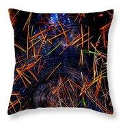 Asian Fir Needles On Ancient Round Throw Pillow