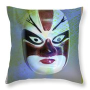 Chinese Porcelain Mask Throw Pillow
