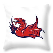 Chinese Red Dragon Angry Isolated Retro Throw Pillow