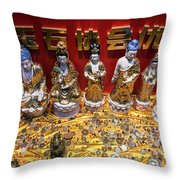Chinese Religious Trinkets And Statues On Display In Xiamen Chin Throw Pillow