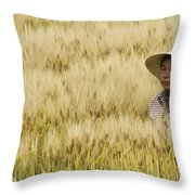 Chinese Rice Farmer Throw Pillow