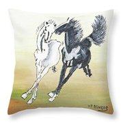 Chinese Running Horses Throw Pillow