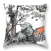 Chinese Style Watercolor Painting Throw Pillow