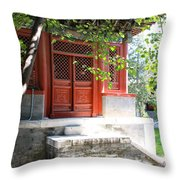Chinese Temple Garden Throw Pillow
