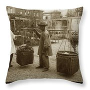 Chinese Vegtable Pedler In San Francisco Circa 1880 Throw Pillow