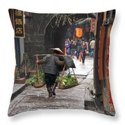 Chinese Woman Carrying Vegetables Throw Pillow