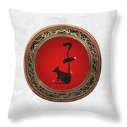 Chinese Zodiac - Year Of The Rat On White Leather Throw Pillow
