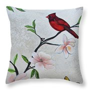 Chinoiserie - Magnolias And Birds #3 Throw Pillow