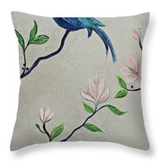 Chinoiserie - Magnolias And Birds #4 Throw Pillow