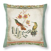 Triptych - Chinoiserie Vintage Hummingbirds N Flowers Throw Pillow