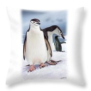 Chinstrap Penguins 2 Throw Pillow