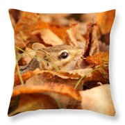 Chipmunk Among The Leaves Throw Pillow