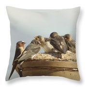 Chirping Swallows Throw Pillow
