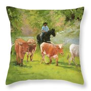 Chisholm Trail Texas Longhorn Cattle Drive Oil Painting By Kmcelwaine Throw Pillow