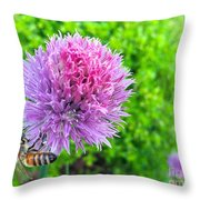 Chive And Bee Throw Pillow