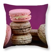 Chocolate And Strawberry Macaroons Throw Pillow