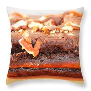 Chocolate Brownie With Nuts Dessert Throw Pillow