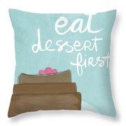 Chocolate Cake Dessert First- Art By Linda Woods Throw Pillow