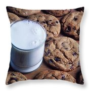 Chocolate Chip Cookies And Glass Of Milk Throw Pillow