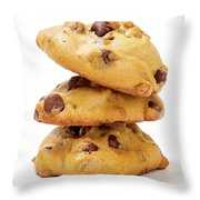Chocolate Chip Cookies Isolated On White Background Throw Pillow