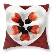 Chocolate Dipped Heart Shaped Strawberries On Heart Shape White Plate Throw Pillow