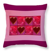 Chocolate Hearts And Roses Throw Pillow