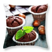 Chocolate Muffins Throw Pillow