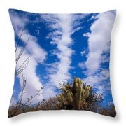 Cholla Blue Sky Throw Pillow