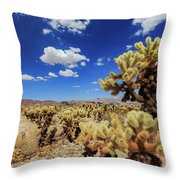 Cholla Cactus Garden In Joshua Tree National Park Throw Pillow