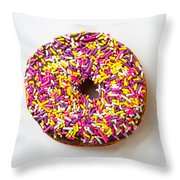 Cholocate Donut With Sprinkles Throw Pillow by Garry Gay