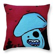 Chomping Zombie Mushroom Throw Pillow by Jera Sky