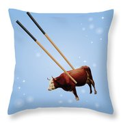 Chopsticks Cow Blue Stars Throw Pillow