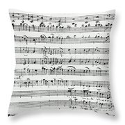 Chorus Of Shepherds, Handwritten Score Of The Opera Ascanio In Alba Throw Pillow