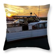 Chris Craft In The Evening  Throw Pillow