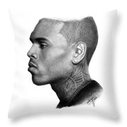 Chris Brown Drawing By Sofia Furniel Throw Pillow
