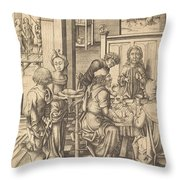 Christ At Emmaus Throw Pillow