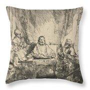 Christ At Emmaus: The Larger Plate Throw Pillow